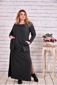Фото Темно-сіра сукня в підлогу | 0645-1