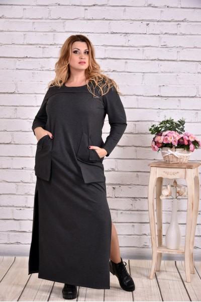 Фото Темно-серое платье в пол | 0645-1