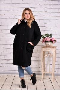 Фото Черное пальто из шерсти | t0642-1