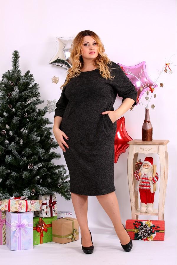 Фото Чорна сукня до коліна з ангори | 0649-1
