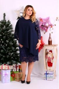 Фото Красиве синє плаття з гіпюром   0651-1