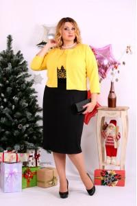 Гарний жовтий костюм плаття і накидка | 0653-3