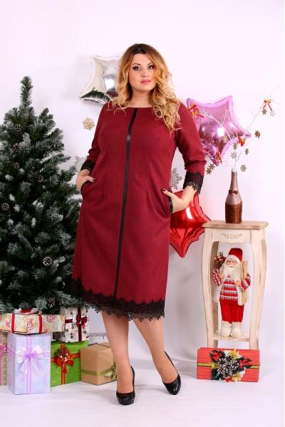Удобное бордовое платье, очень стройнит | 0656-3