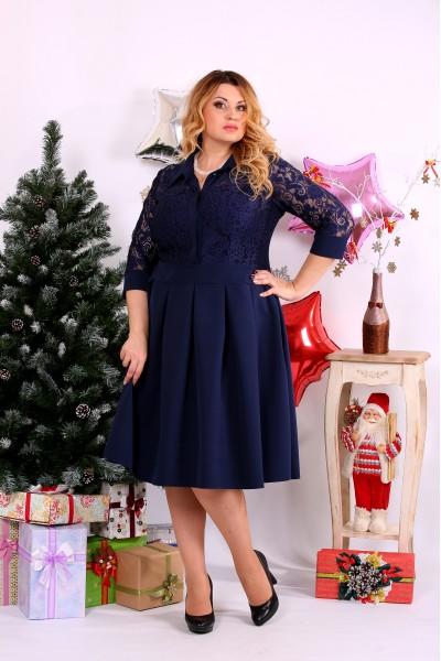 Синее пышное платье | 0659-1