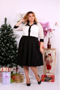 Фото Черно-белое платье со свободной юбкой | 0659-2