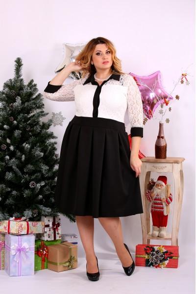 Черно-белое платье со свободной юбкой | 0659-2