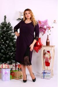 Платье баклажанового цвета с вырезом | 0660-1