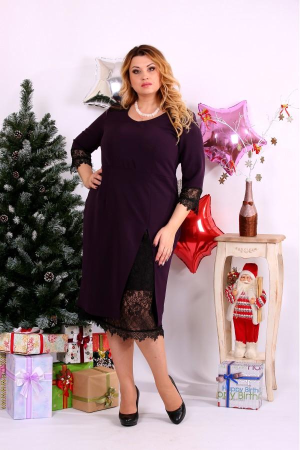 Фото Платье баклажанового цвета с вырезом | 0660-1