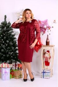 Фото Бордовое платье с брошью | 0662-1