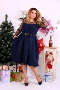 Фото Синее платье с бусинками | 0665-1