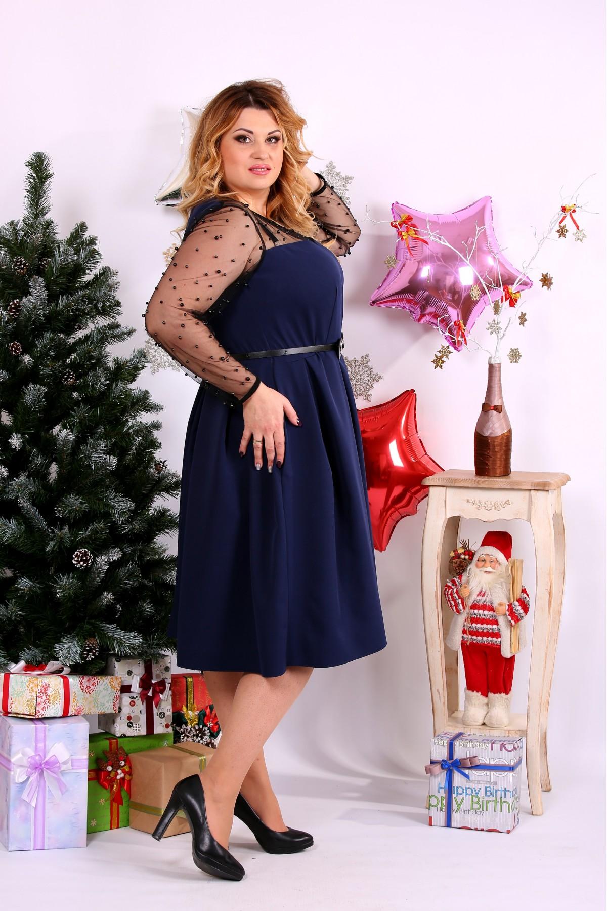 ... Фото Синє плаття з намистинками  b3c3fa7abd9b2