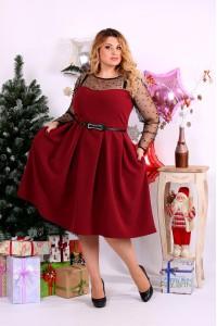 Фото Бордовое платье сетка с бусинами | 0665-2