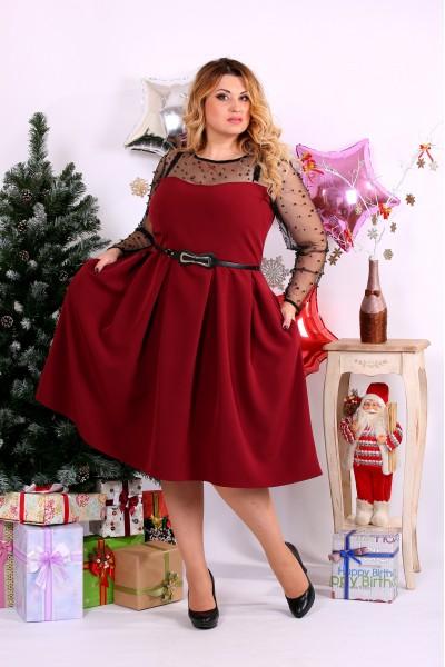 Бордовое платье сетка с бусинами | 0665-2