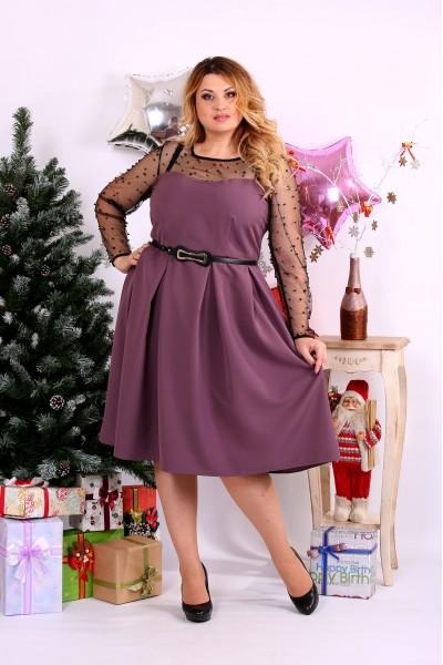 Бискивтное платье с сеткой и бусинами | 0665-3