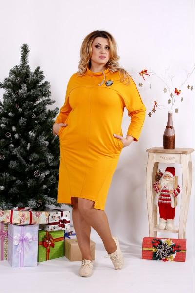 Классное горчичное платье с воротником | 0671-1