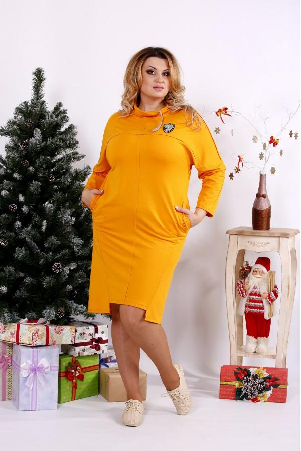 Фото Классное горчичное платье с воротником | 0671-1