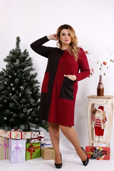 Фото Бордово-шоколадне плаття з кишенями | 0673-2