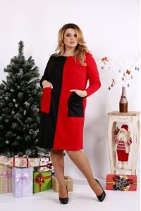 Фото Алое яркое платье с карманами | 0673-3