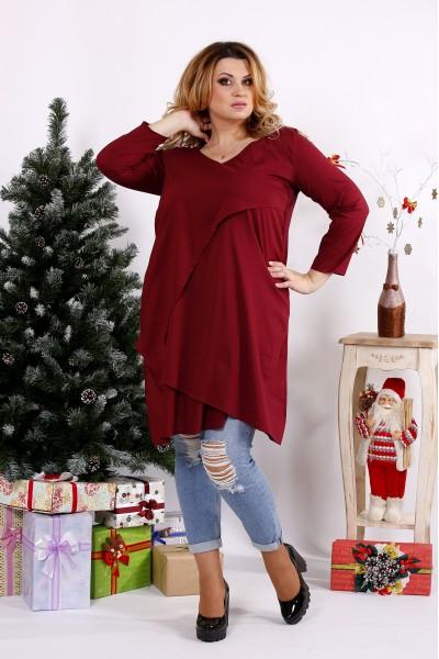 Фото Бордовая блузка-туника   0675-1