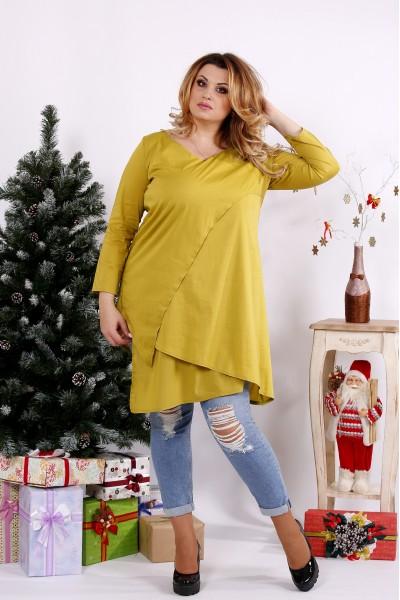 Фото Повседневная блузка-туника горчичного цвета   0675-2