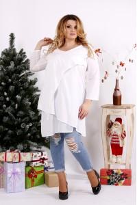 Фото Белая блузка-туника на каждый день   0675-3