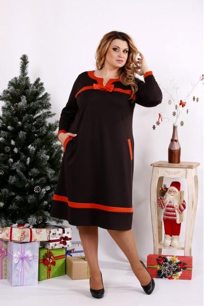 Шоколадное платье с оранжевыми вставками | 0682-1
