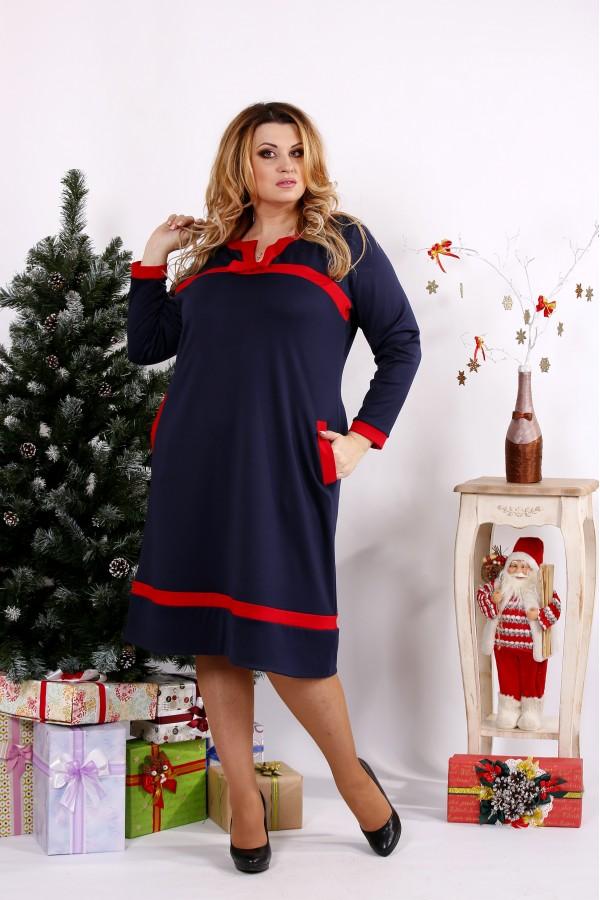 Фото Синее платье с красными вставками | 0682-2