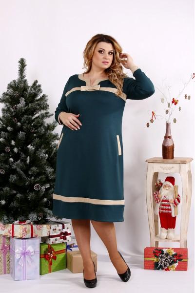 Классное зеленое платье с бежевыми вставками | 0682-3