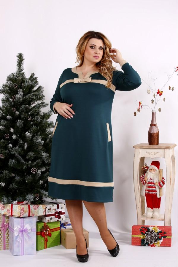 Фото Классное зеленое платье с бежевыми вставками | 0682-3