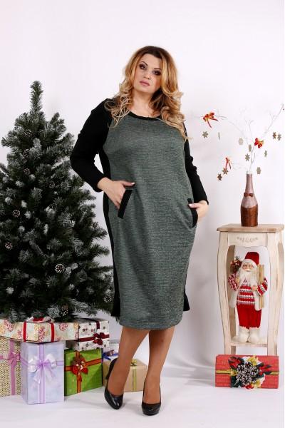 Фото Зеленое с черным платье | 0684-3