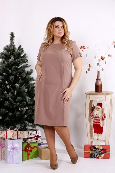 Фото Бежевое стильное платье | 0685-2