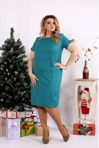 Фото Зеленое строгое платье из костюмки | 0685-3