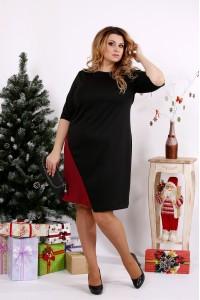Фото Черное с бордовым платье | 0686-2