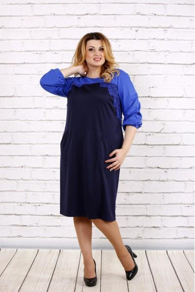 Фото Синее свободное платье | 0677-3