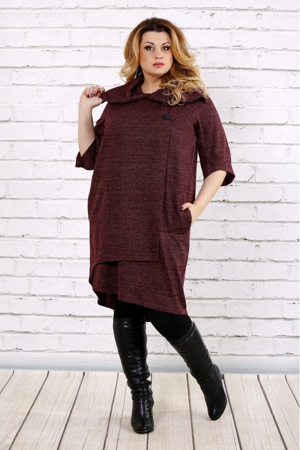 Фото Бордовое платье из ангоры | 0687-2