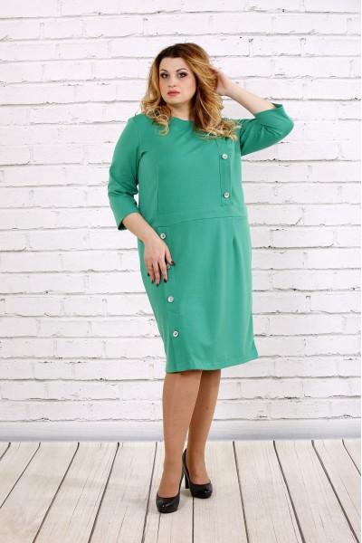 Фото Платье зеленого цвета до колена | 0695-1