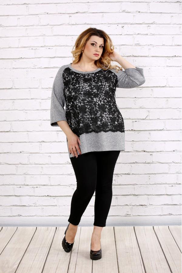Фото Серая блузка из ангоры с макраме | 0698-1