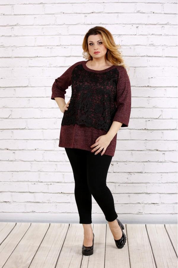Фото Бордовая свободная блузка из ангоры   0698-2