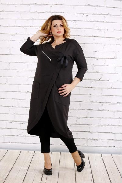 Фото Темно-Сіра  сукня-туніка | 0702-2