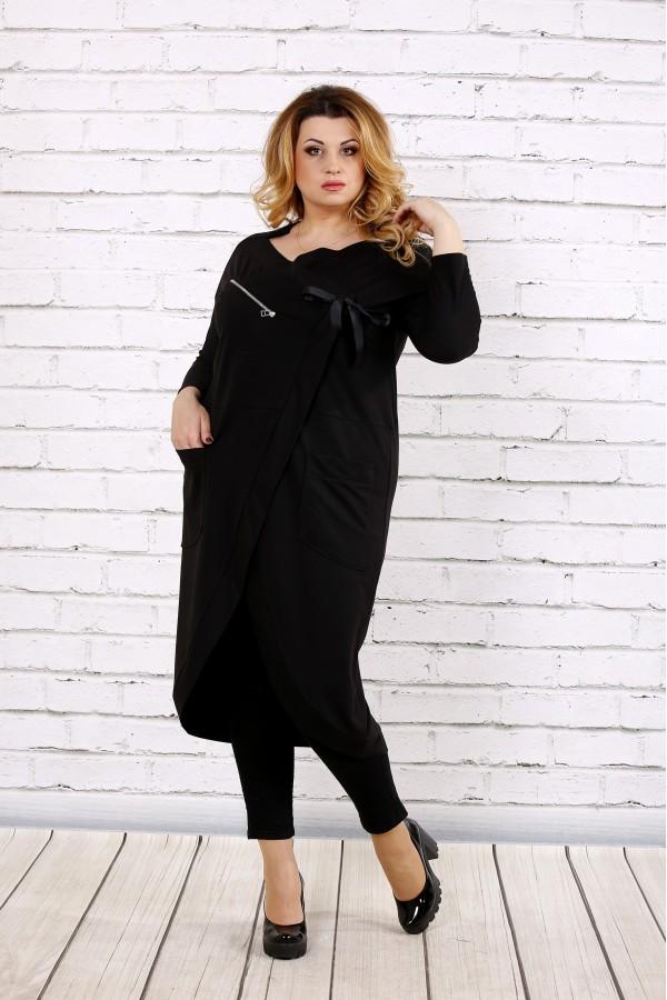 Фото Черная блузка-туника | 0702-3