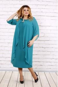 Бирюзовое платье ниже колена | 0708-3
