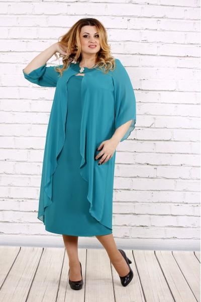 Фото Бирюзовое платье ниже колена | 0708-3