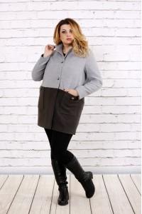 Кашемировое двухцветное пальто | t0692-1