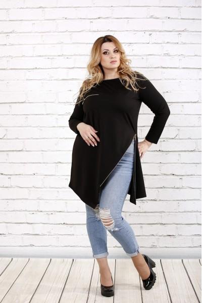 Фото Чорна блузка з розрізом | 0710-2