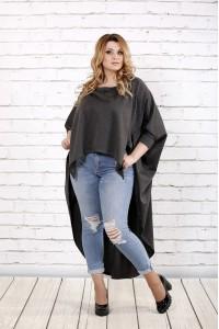 Темно-серая блузка в закрытой спиной | 0711-1