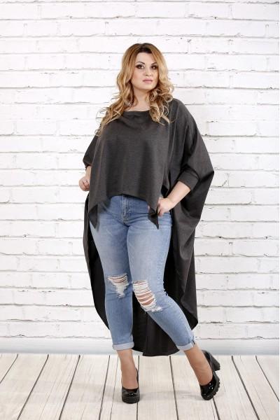 Фото Темно-серая блузка в закрытой спиной | 0711-1
