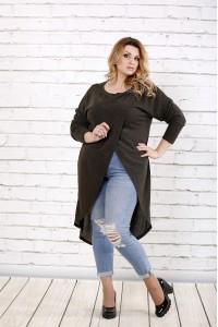 Длинная блузка хаки | 0713-2