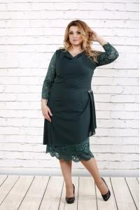 Фото Зеленое платье ниже колена | 0715-3