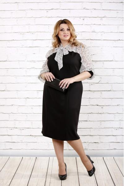 Фото Чорно-біле плаття з шифоном | 0716-1