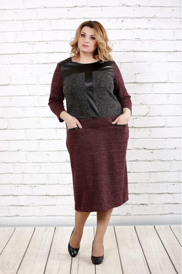 Фото Комбинированное платье ниже колена | 0717-1